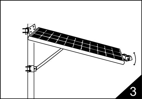 3-Adjust the led source to be vertical with pole, set a proper direction of solar panel