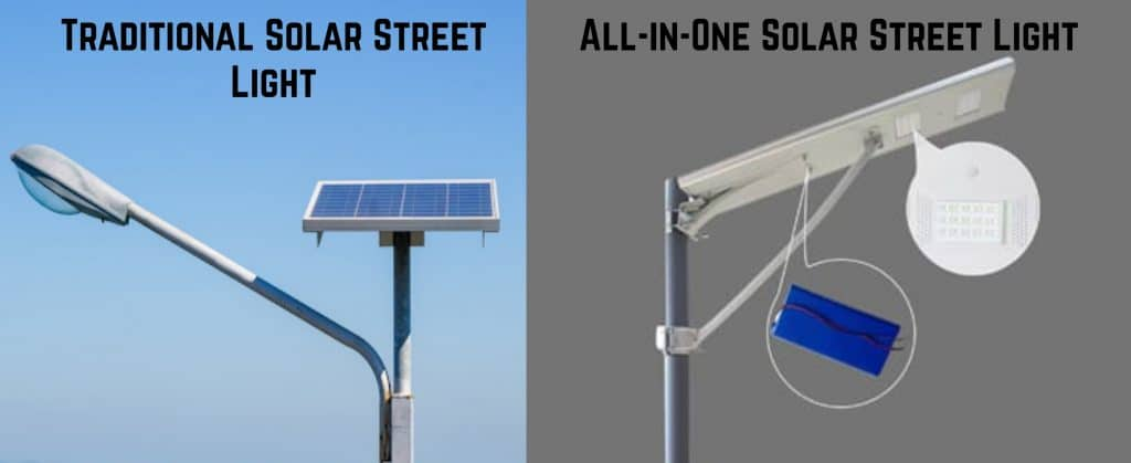 comparison between traditional solar street light and all in one solar street light