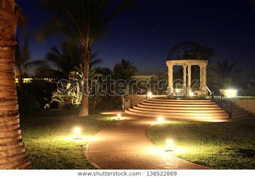 gazebo night glowing lights