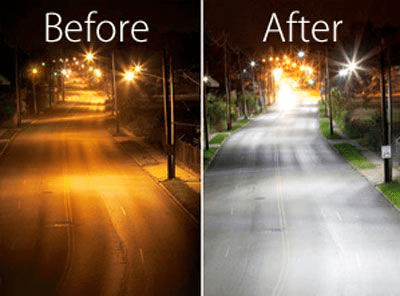 LED and HPS street light before and after replacement