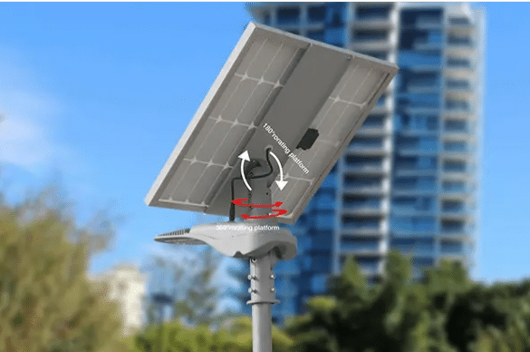 angle solar panel street light at 60deg during winter