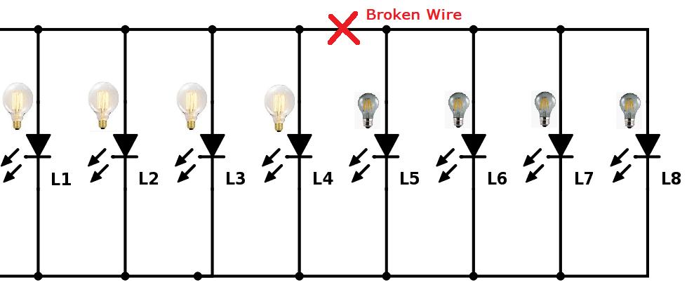 broken wire along a solar string light circuit