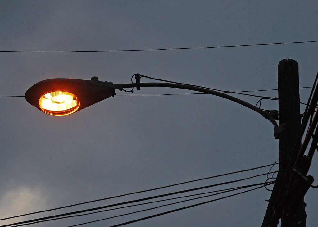 old High pressure sodium light on grey sky