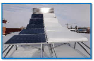 solar panel lights covered with snow and with no snow