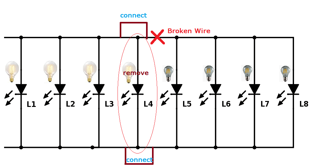 troubleshoot broken wire along solar string light circuit