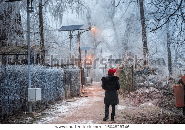 winter season with solar street lights gleaming in snow person at center